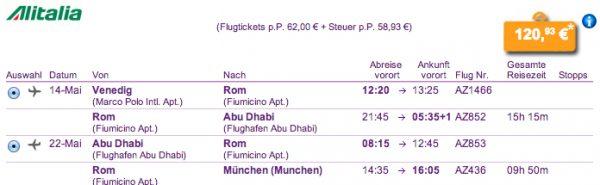 Venedig - Rom - Abu Dhabi - Rom - München für 121€