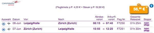 Leipzig - Zürich für 58€ Return