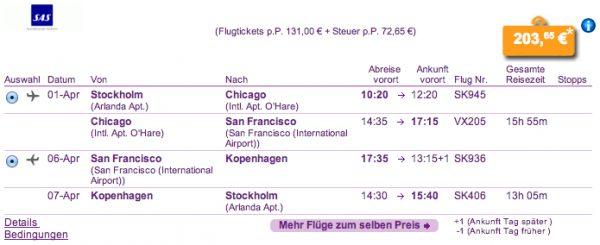 Stockholm - San Francisco für 204€