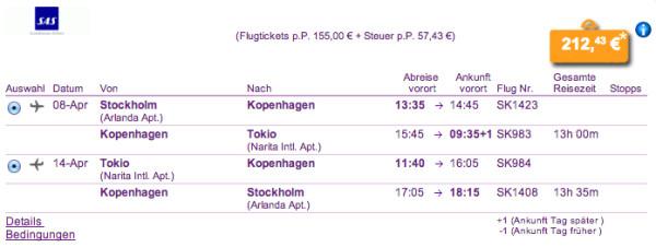Stockholm - Tokio für 212€