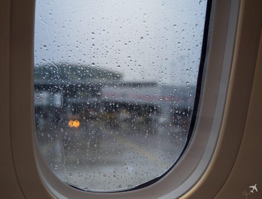 Regen Flugzeugfenster