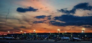 Frankfurt Airport, Lufthansa, Ryanair, FRA, Arrival at Sunset, Germany, May 2018