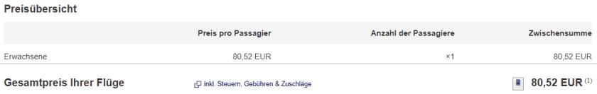 Gesamtpreis 1 Person Lufthansa