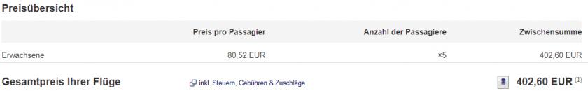 Gesamtpreis 5 Personen Lufthansa