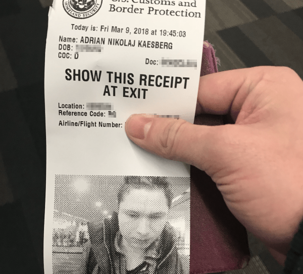 Global Entry Receipt