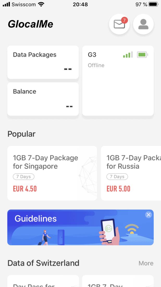 GlobalMe G3 Bewertung App 1