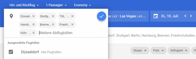 Google Flights Abflughaefen