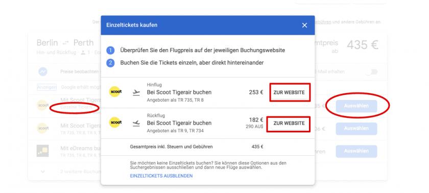 Google Flights Einzeltickets TXL PER
