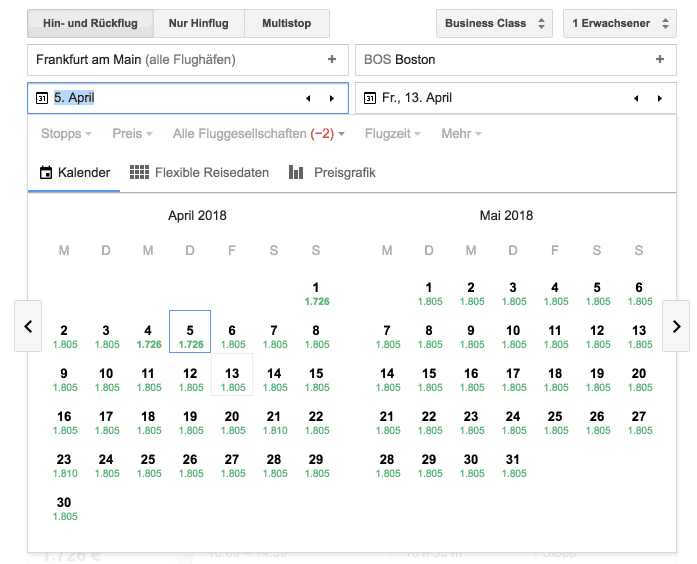 Google Flights FRA-BOS