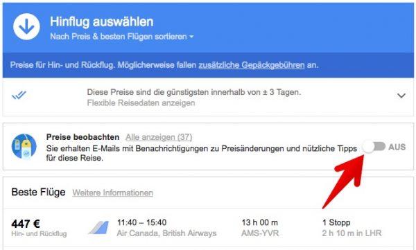 Google Flights Flugpreis überwachen