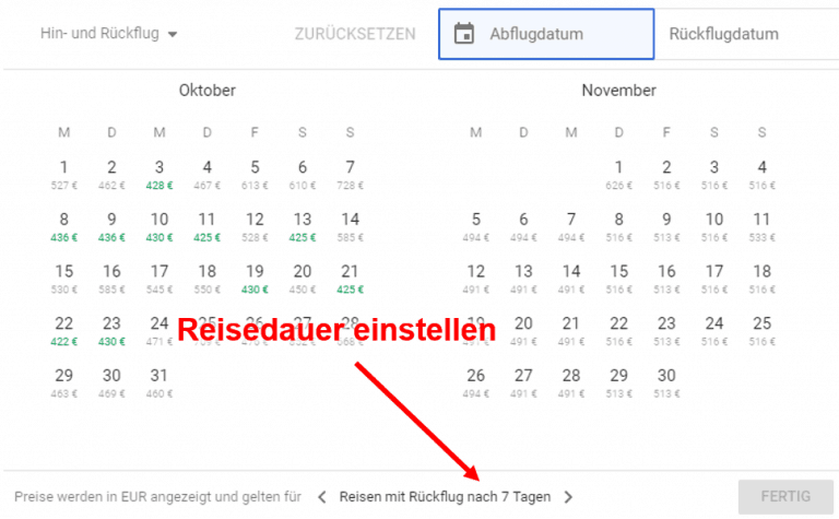 Google Flights Kalender 1