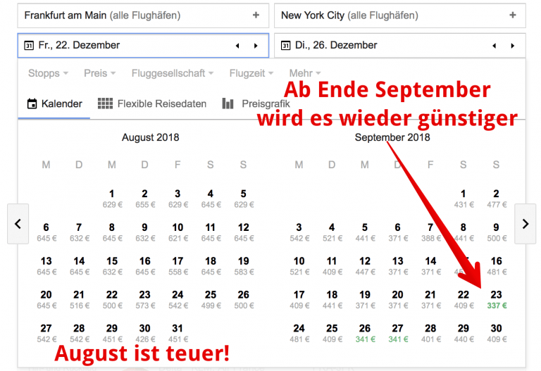 Google Flights Kalender
