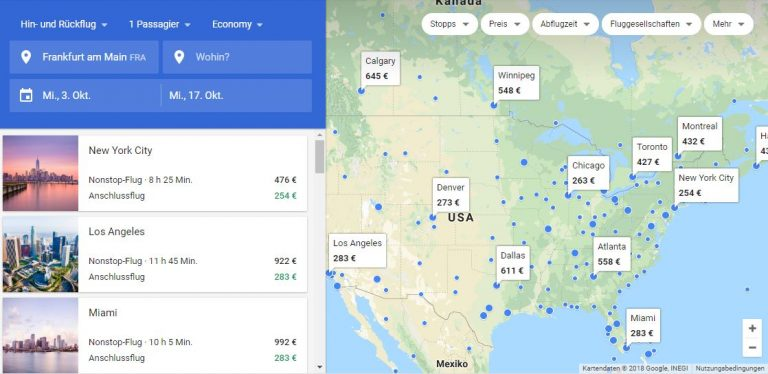 Google Flights Karte