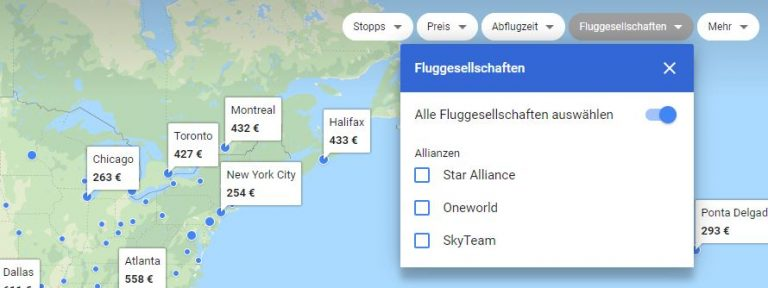 Google Flights Karte Filter