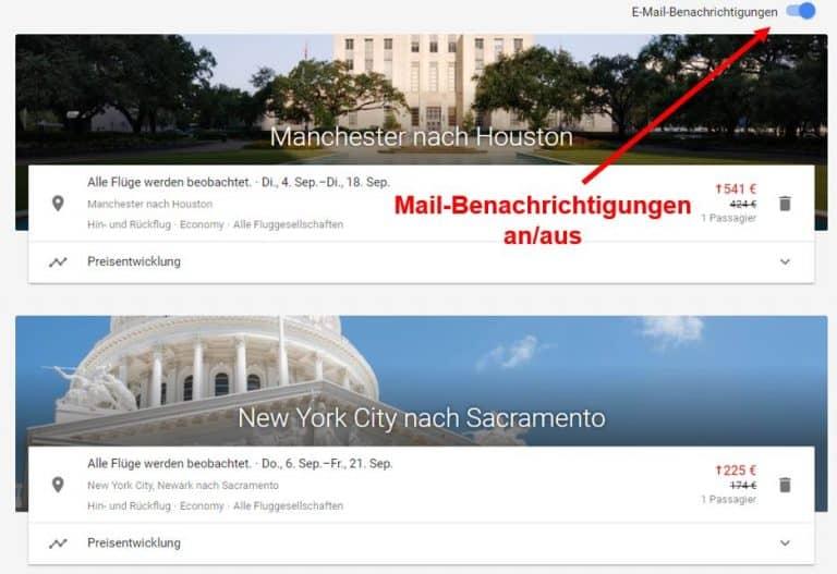 Google Flights Mail Notifiaction