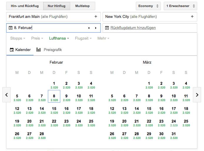 Google Flights Oneway Flug