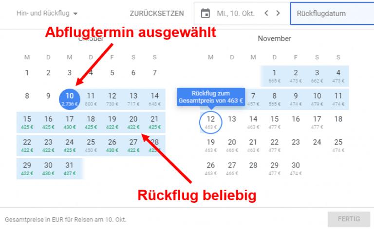 Google Flights Rückflug beliebig