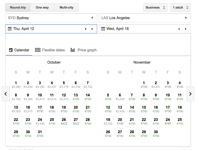 Google Flights SYD-LAX NZ C avail.