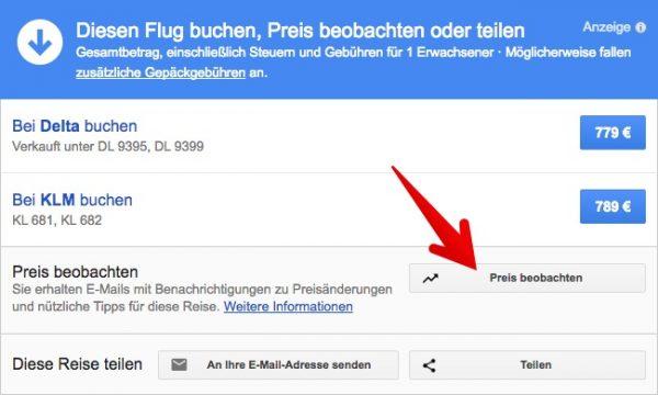 Google Flights Verbindung überwachen
