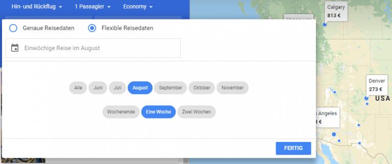 Google Flights flexible Reisedaten