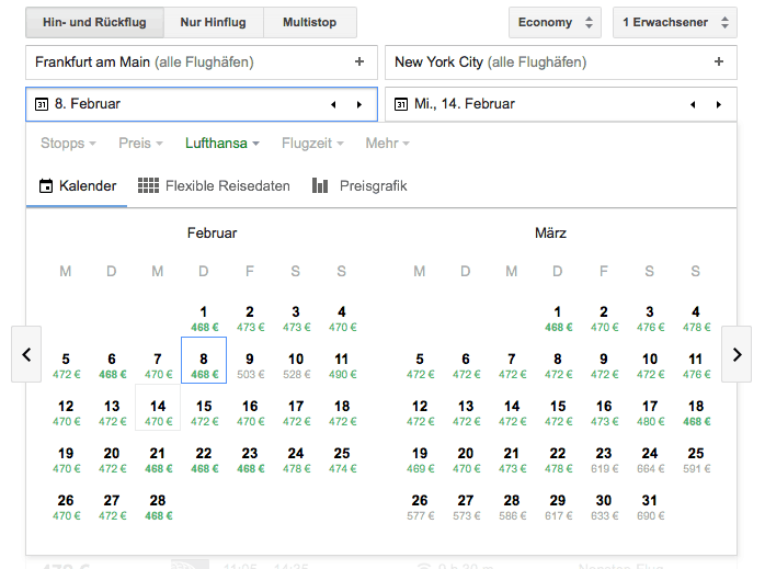 Google Flights Hin- und Rückflug