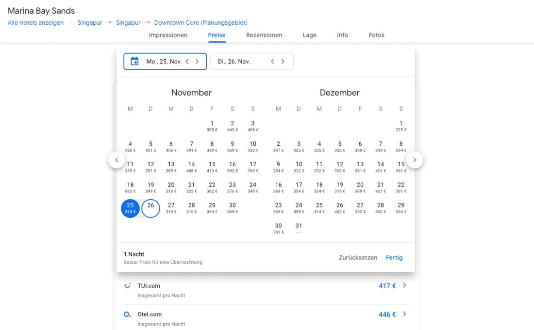 Google Hotels Kalender