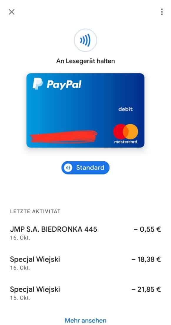 Google Pay PayPal Transaktionen