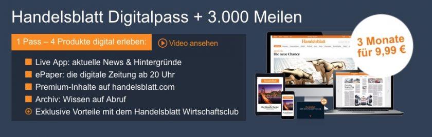 Handelsblatt Digitalpass mit Miles&More Meilen