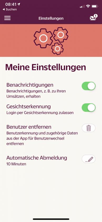 Hanseatic Bank App Einstellungen