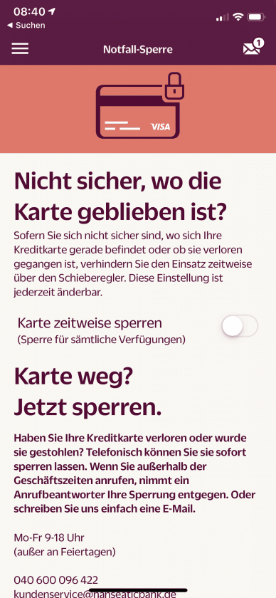 Hanseatic Bank App Karte Sperren