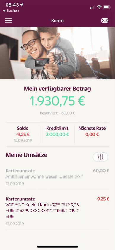Hanseatic Bank App Kontoübersicht