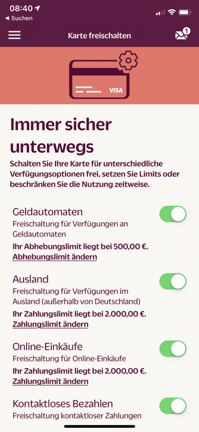 Hanseatic Bank App Limits