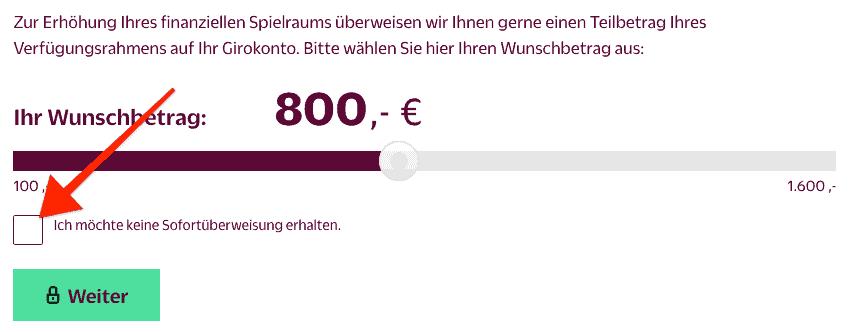 Hanseatic Sofort Geld ablehnen