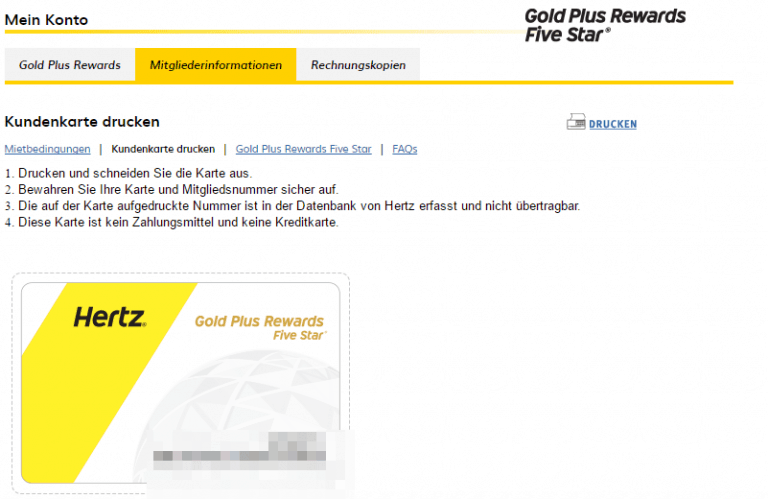 Hertz Plus Rewards Kundenkarte