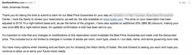 Hilton Bestpreisgarantie Annahme Antrag