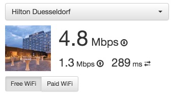 Hilton Düsseldorf WiFi Speed