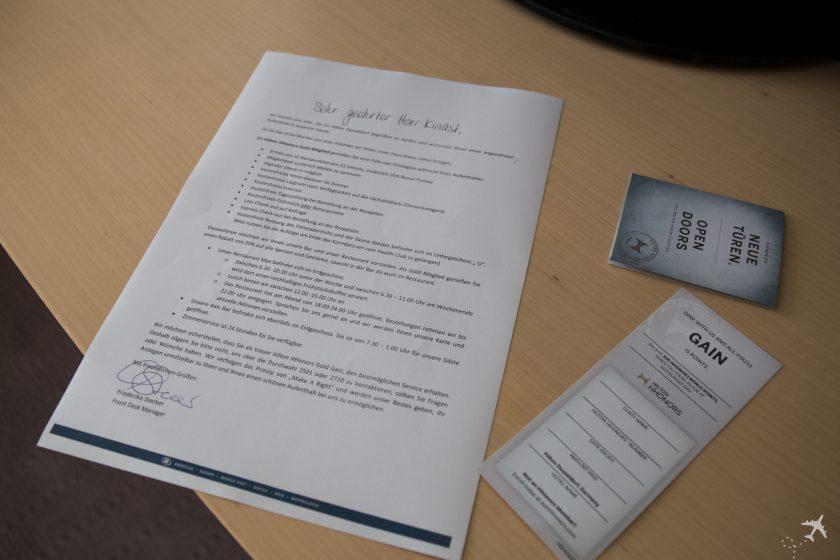 Hilton Düsseldorf Willkommensbrief