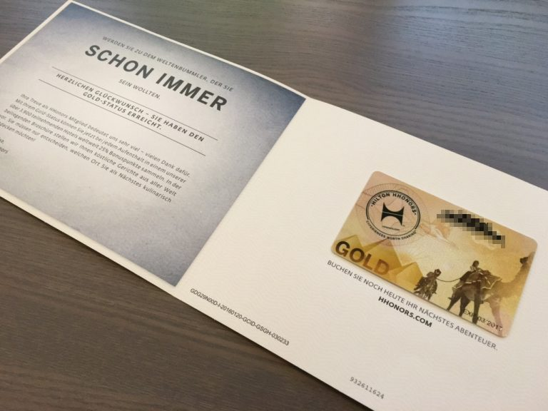 Hilton HHonors Gold Welcome Kit