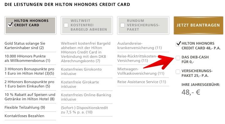 Hilton HHonors Kreditkarte ohne DKB-Konto