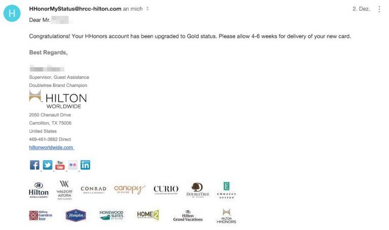 Hilton HHonors Status Match Bestätigung
