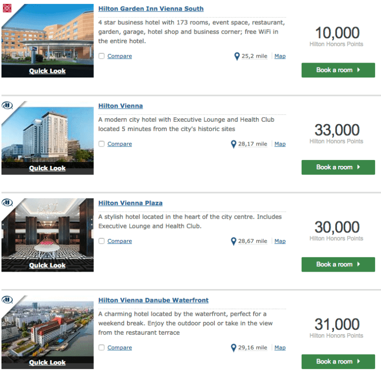 Hilton Honors points redemptions vienna