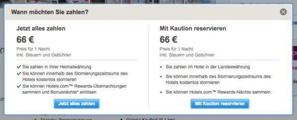 Wann zahlen Hotelpreis bezahlen bei Hotels.com