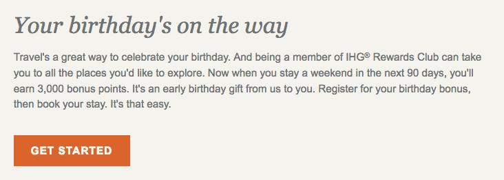 IHG Rewards Club Geburtstagsüberraschung