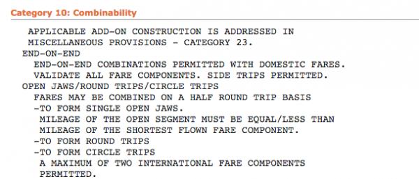 Die Kombinierbarkeit von Flügen mit den Fare Rules prüfen