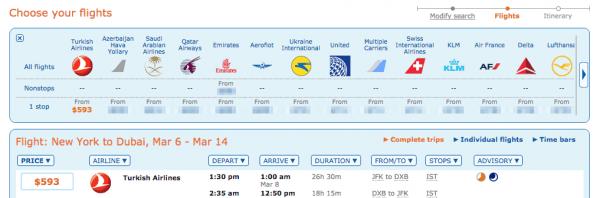 ITA-Matrix Ergebnisse für den Flug von JFK nach DXB