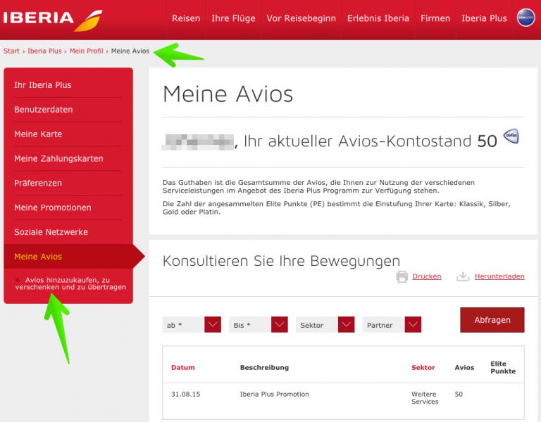 Iberia Plus Profil Avios übertragen