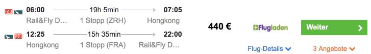 Idealo Flug QYG HKG Cathay Pacific