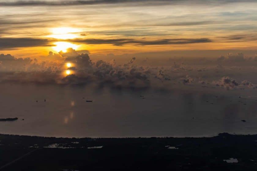 Inflight Sonnenaufgang Meer