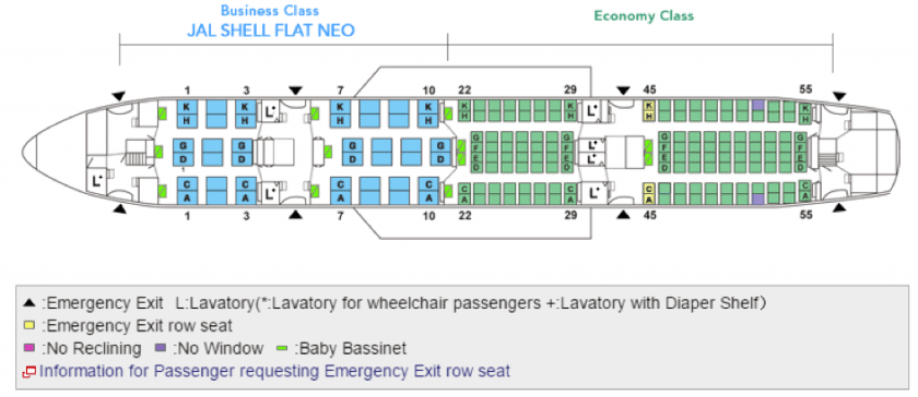 JAL Beoing 787-8 Seatmap