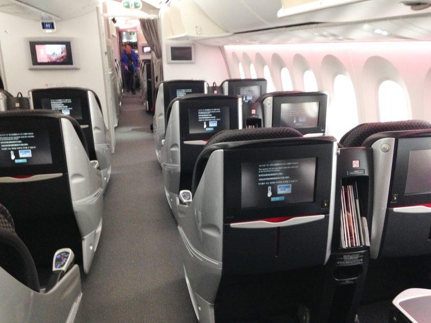 JAL Narita Business Class 787 Kabine